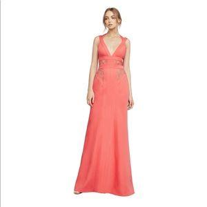 BCBGMaxAzria Reese Lace-Insert Satin Gown